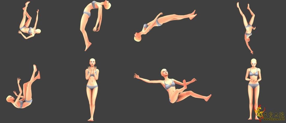 【萌大奶的动作-mDn-Solo poses-Falling】