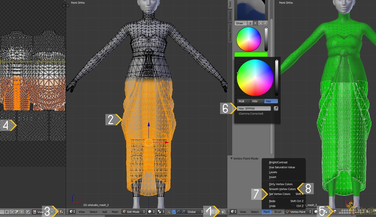 Blender里模型的顶点颜色设定