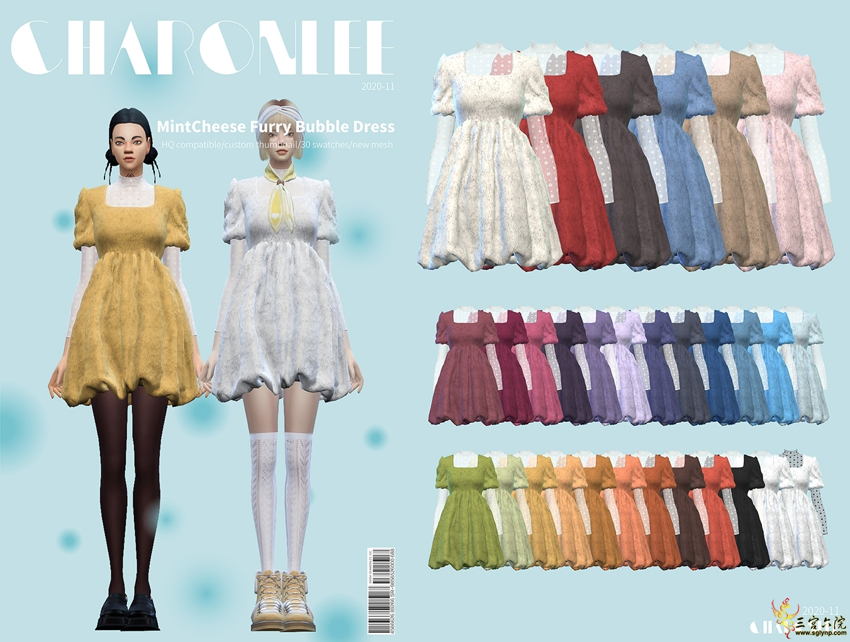 [CHARONLEE]2020-061-MintCheese Furry Bubble Dress03.jpg