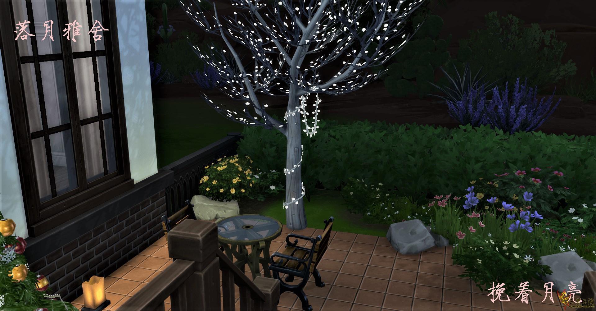挽着月亮-落月雅舍-庭院夜景 .jpg