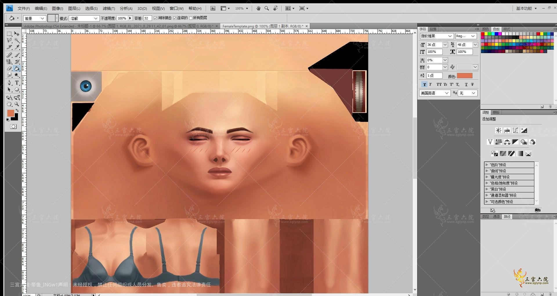 Adobe Photoshop CS4 Extended - FemaleTemplate.png @ 100% (图层 3, RGB_8) _ 2021_.png