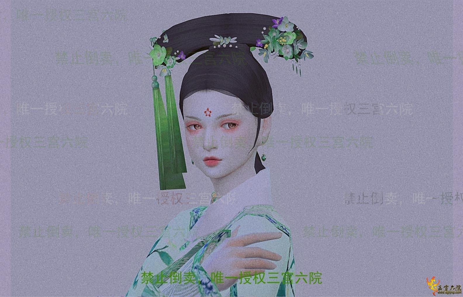 清朝旗头配件簪花一个