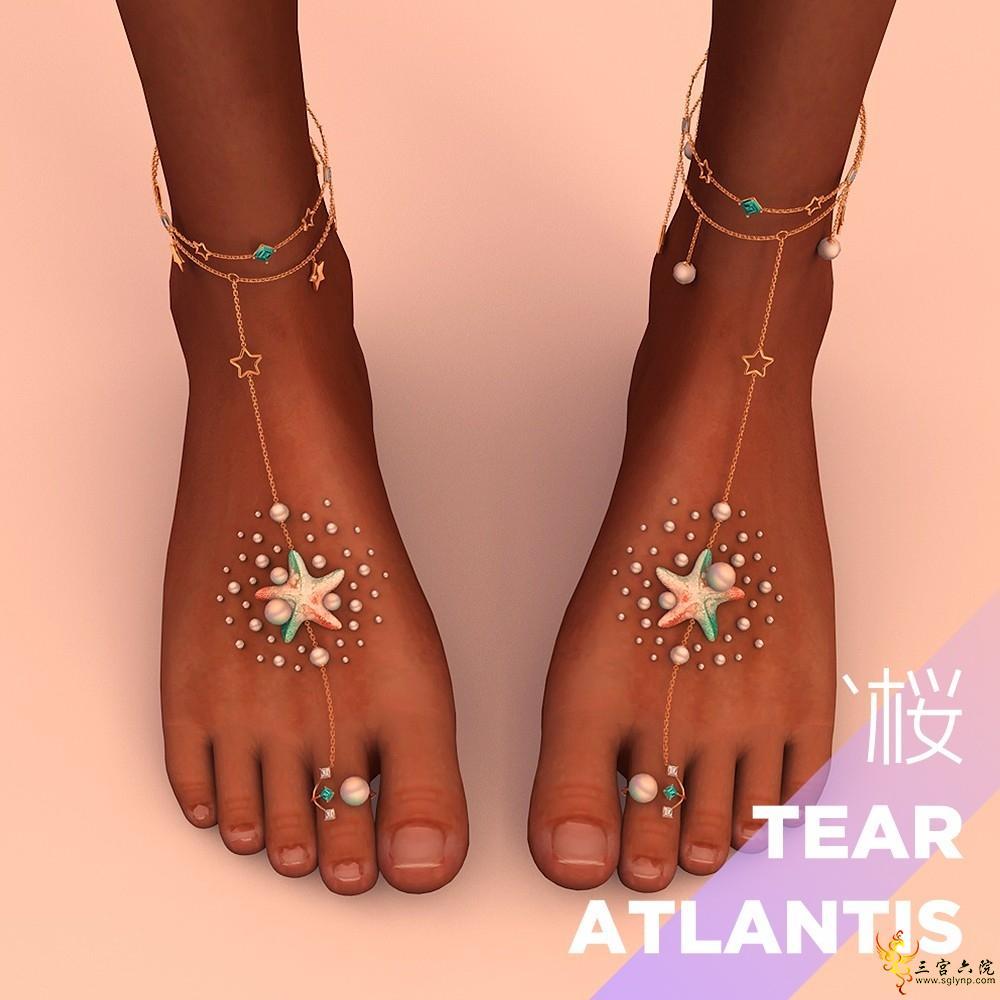 "【sakura`桜】Atlantis-Tear ""亚特兰之歌"" 系列——珍珠钻石脚部链饰+手饰品"